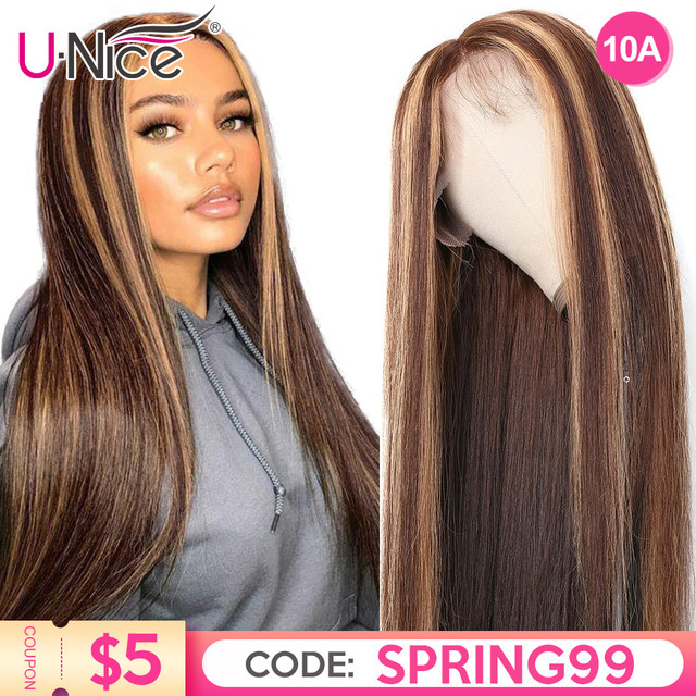 $ US $72.02 13x4 Highlight Lace Front Human Hair Wig Honey Blonde Brown Pre Plucked Brazilian Remy Hair Natural Wigs For Women Unice Hair