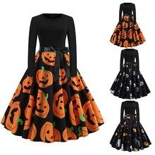 Halloween Fancy Pumpkin Printed  Dress Long Sleeve Mid Length Princess Swing Ladies Costume for Festival Party M-XXL