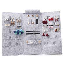 Портативный сворачивающийся украшения из войлока рулон сумка для хранения складной путешествия серьги ожерелья браслеты кольца контейнер