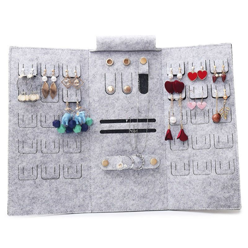 Portable Roll-up Felt Jewelry Roll Storage Bag Folding Travel Earrings Necklaces Bracelets Rings Container