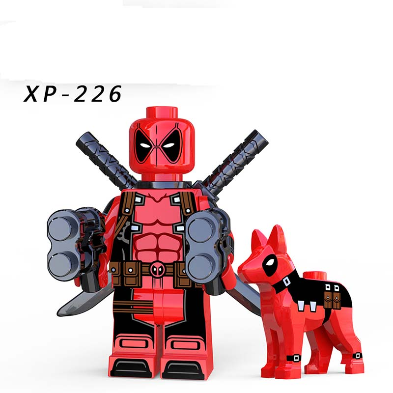 Single Sale LegoINGlys Deadpool With Dog Avengers Super Heroes DC Gwenpool Domino MiniFigured Building Bricks Boy Gifts XP226
