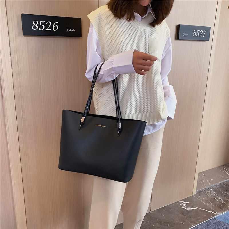 Kadın çantası düz kadın PU deri çantalar lüks bayan el çantaları çanta cep kadın askılı çanta büyük Tote Sac Bols