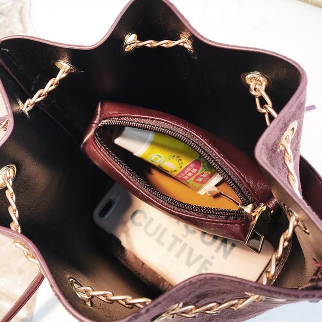 2019 New Mini Crossbody Handbags Cute Suede Bucket Bag Organizer Small Tassel PU Leather Womens Shoulder Messenger Bags Bolsos 5
