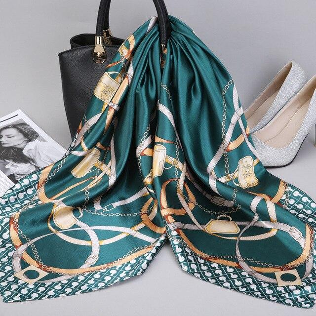 2019 Fashion Kerchief Silk Satin Neck Scarf For Women Print Hijab Scarfs Female 90*90cm Square Shawls and Wraps Scarves For Lady 2