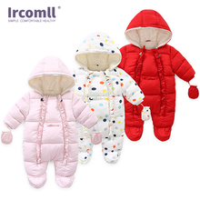 цена на Ircomll 2019 High Quality Baby Girl Romper Cotton Hooded Soft and Warm Fleece Lined Clothes For Girls Jumpsuit Outfit Hooded