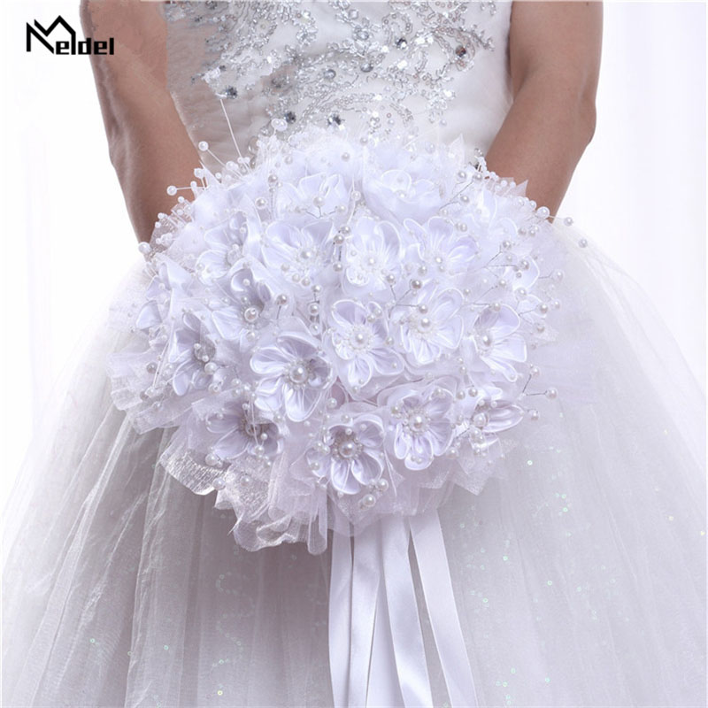 Ribbon Pearl Wedding Bridal Bouquet Artificial Flowers Wedding Bouquet For Bridesmaid Marriage Wedding Bridal Holder Accessories