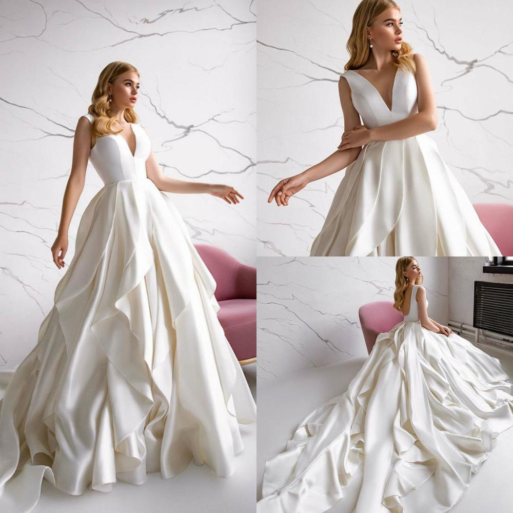Sexy Eva Lendel A Line Wedding Dresses Deep V Neck Ruffles Pleats Satin Bridal Gowns Backless Sweep Train Wedding Dress