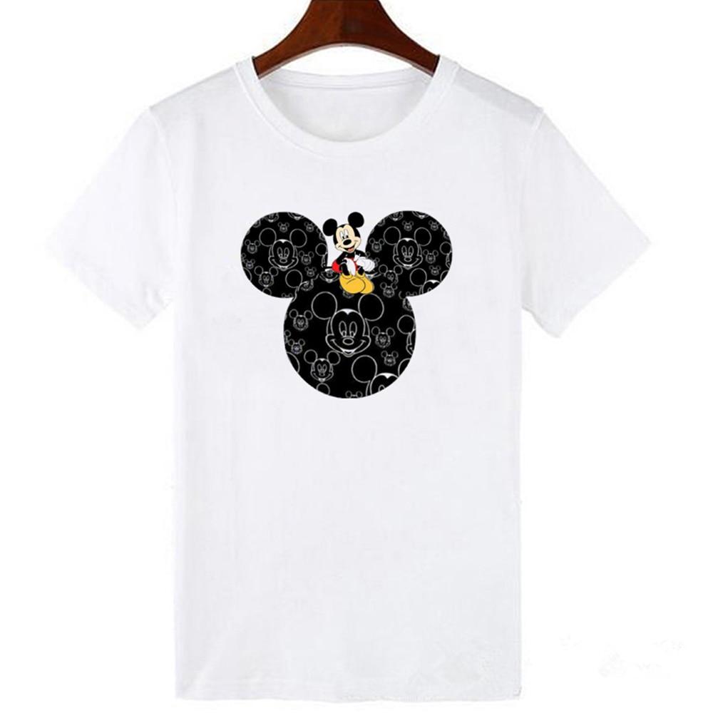 Mickey   T     shirt   Women   Shirts   Summer Tops Graphic Tees Women Mickey Mouse Heart Plus Size Kawaii   T  -  shirt   S-3XL