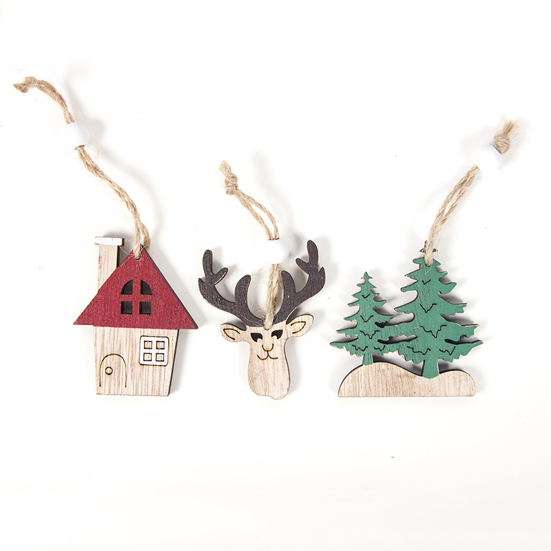 1Pcs Pendant Shop Christmas Cabin Creative Wooden Deer Car House Tree Attractive image