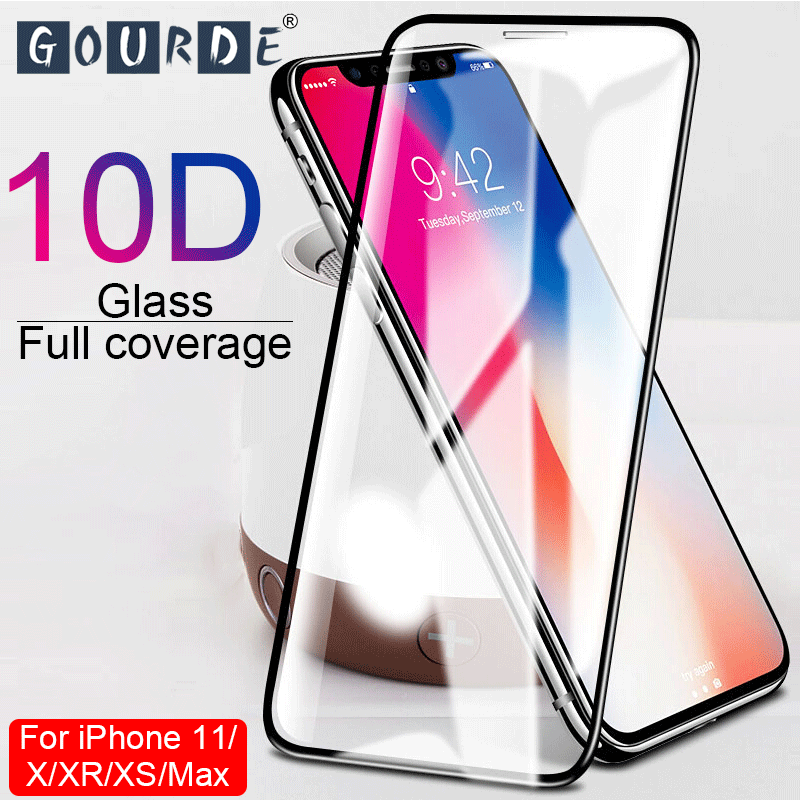Gourde 10D Protective Glass For IPhone 6 6S 7 8 Plus X XS Glass Screen Protector For IPhone 7 6 X XR XS MAX Screen Protection XR