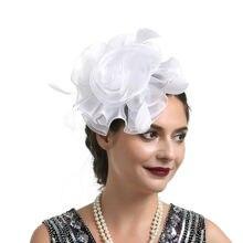 HIRIGIN женский перьевой цветок головной убор заколка для волос шпилька Свадебный церковный вечерние цветы новейшая органза шляпа Головной убор