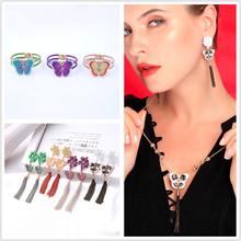 Fashion Jewelry Set For Women Unique Multicolored Enamel Crystal Insect Butterfly Long Tassel Vintage Earrings Necklaces Bracelets For Women(China)