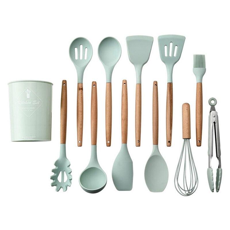 Ensemble d'ustensiles de cuisine HLZS-12Pcs ustensiles de cuisine en Silicone spatule de cuisson outils résistants à la chaleur avec manche en bois pour non-adhésif