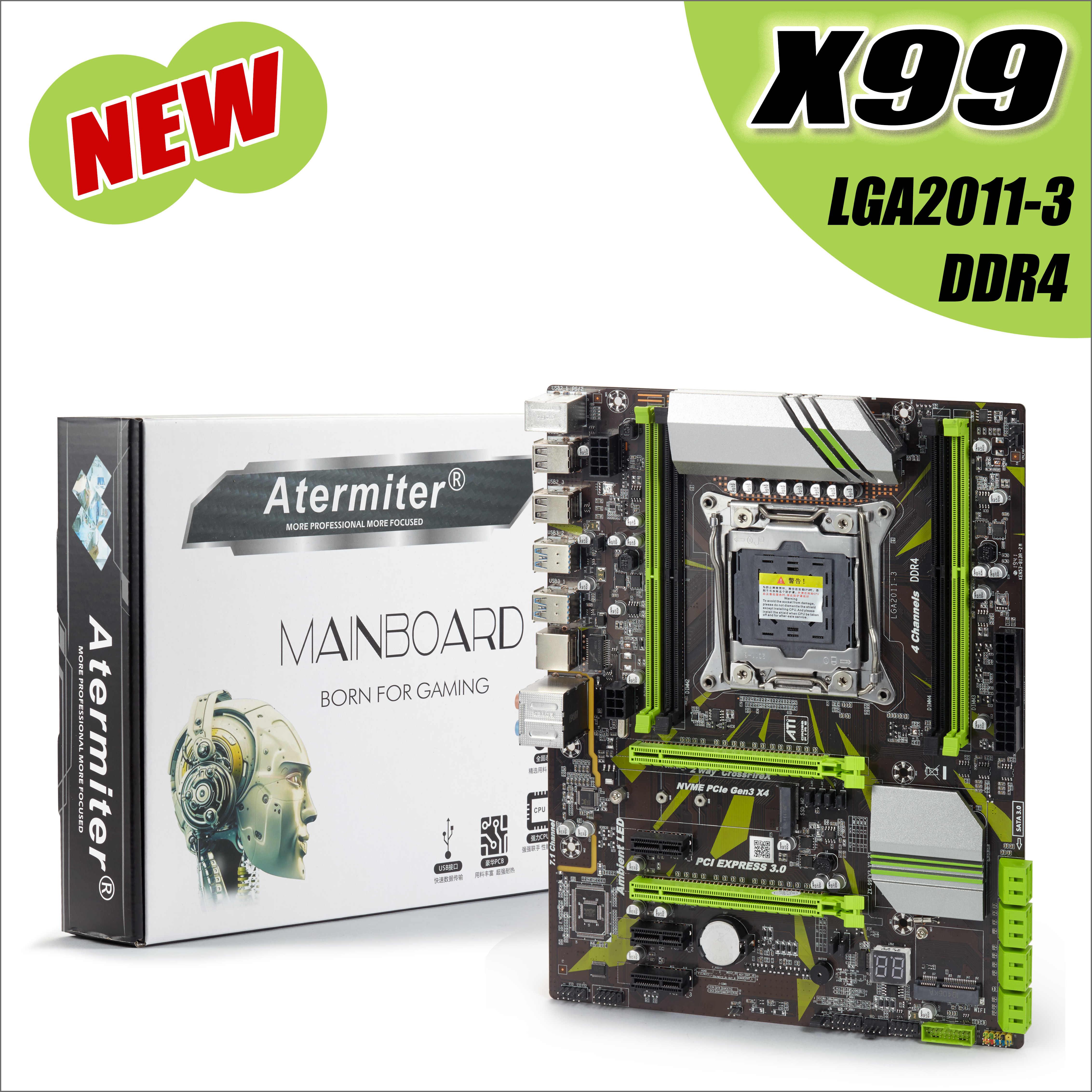 Atermiter X99 LGA2011-V3 LGA 2011 profesional 4 canales DDR4 computadora de escritorio placa base X 99 LGA2011-3 e5 2678 v3 huanan