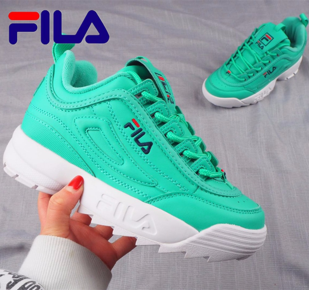 2018 HOT SALE FILA Running Shoes Female Sports Shoes Summer Outdoor New Green/white HOT SALE 36-44