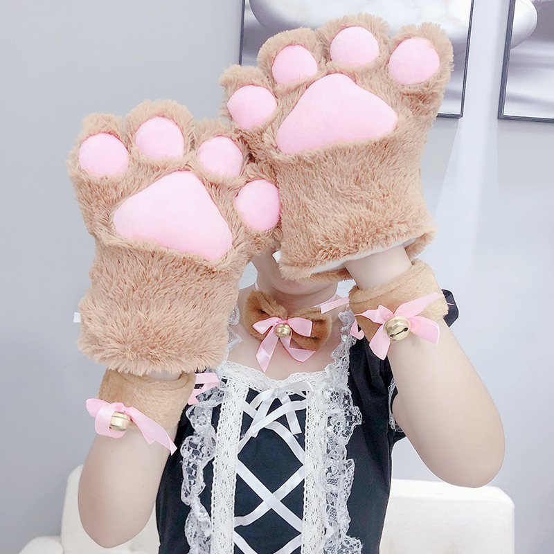Anime Cosplay Cartoon Big Cat Paw Gloves Winter Sexy Keep Warm Cute Lovely Plus Velvet Thicken Japanese Style Performance Props