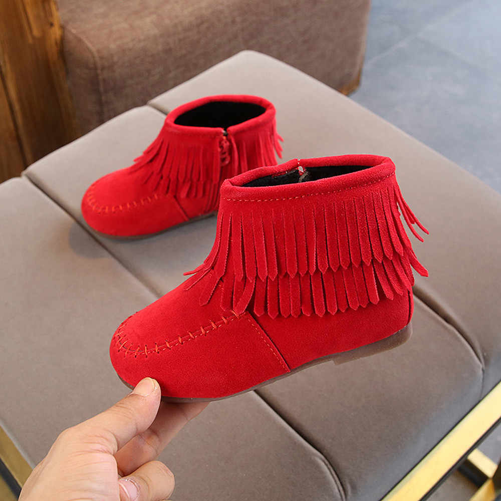 Girls Ankle Boots Princess Sweet Red Pink Black Flock Fabric Warm Rubber Boots For Toddler Kids Cotton-padded Tassels Red