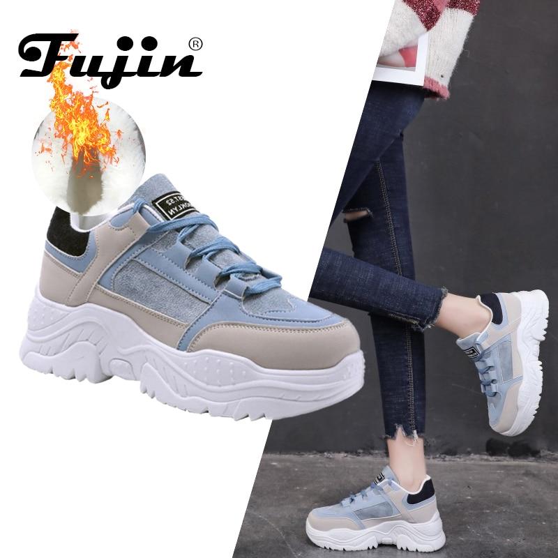 FUJIN Women Casual Sneakers Winter Sneakers Plush Fur Warm Women Shoes Lace Up Female Shoes Comrfortable Platform Shoes Women