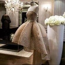 高級シャンパン真珠高低ウエディングドレス 2020 Abendkleider サウジアラビアアラビアレースウエディングドレス Abiye ロングフォーマルパーティードレス