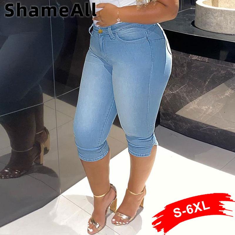 Vintage Mid Blue Stretchy Skinny Knee Capris Jean 1