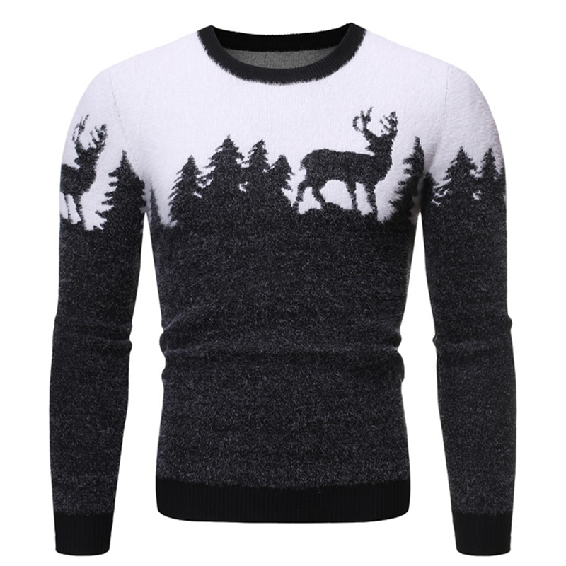 2019 Autumn And Winter New Men's Round Neck Pullover Deer Print Sweater Sweater Men's Slim Casual Sweater J786