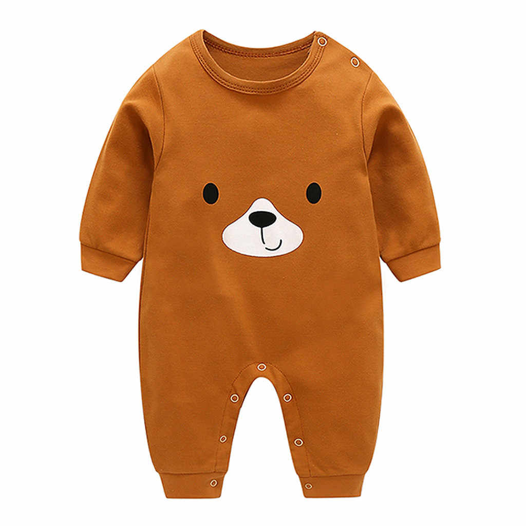 Fashion Casual Infant Romper Baby Boy Girl Cartoon Bear O-Neck Long Sleeve Romper Jumpsuit Clothes Outfits Costumes Pajamas 2019