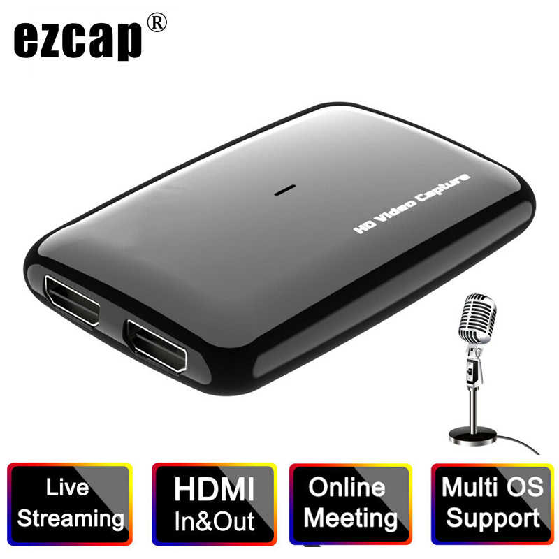 Meeting Video Capture Card with Loop for Live Streaming 1080P USB to HDMI Capture Card Video Capture Card