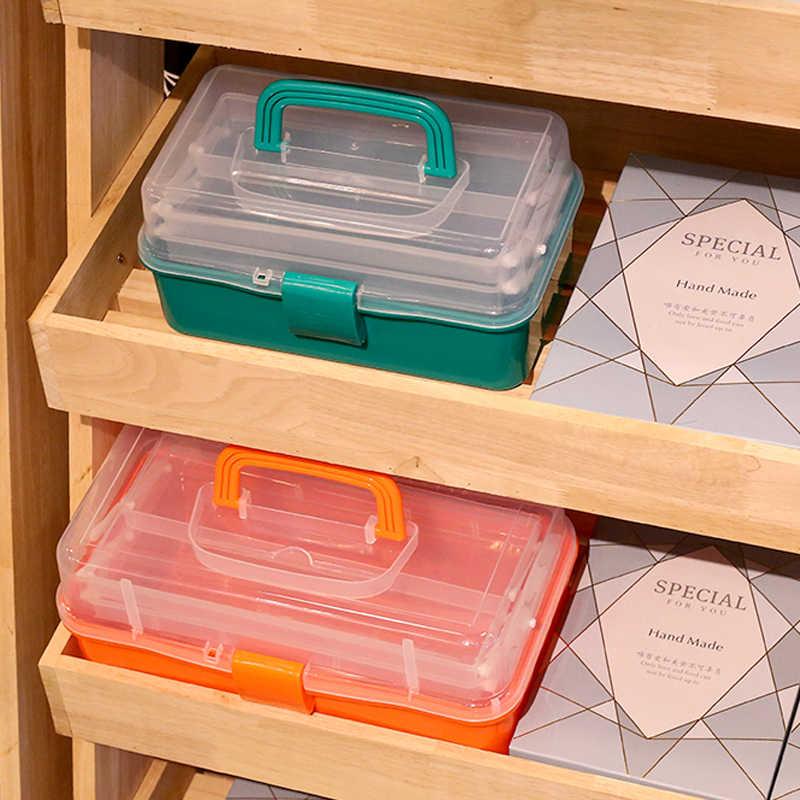 3 Lapisan Kotak Penyimpanan Plastik Portabel Lipat Alat Organizer Kotak Serbaguna Perhiasan Manik-manik Penyimpanan Kotak dengan Menangani