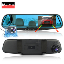 Dvr داش كاميرا سيارة ثنائية العدسة جهاز تسجيل فيديو رقمي للسيارات مرآة مزدوجة عدسة الرؤية الخلفية كاميرا رؤية خلفية داشكام السيارات مسجل فيديو كامل hd الأمامي والخلفي