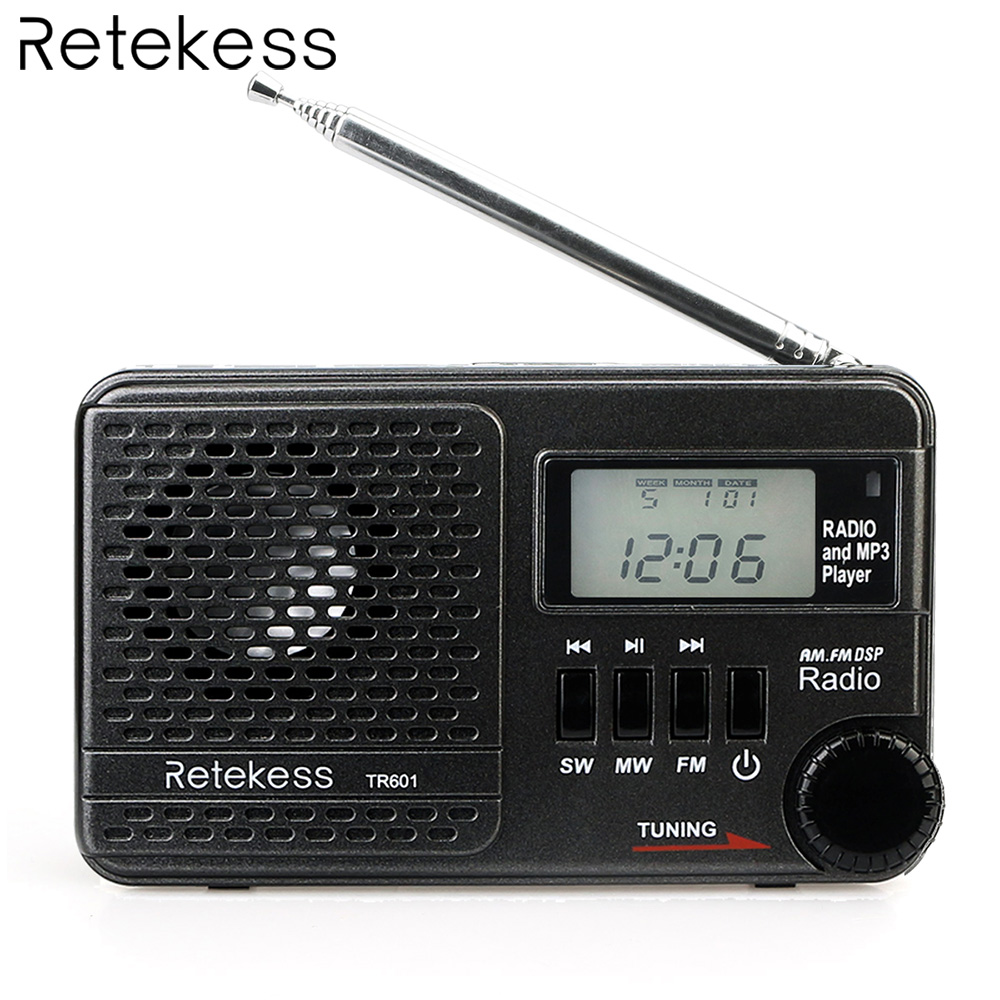 Retekess TR601 FM/AM/SW Pocket Radio Digital DSP Clock Radio Receiver MP3 Player 9K/10K Tuning Micro SD Card Port USB Input