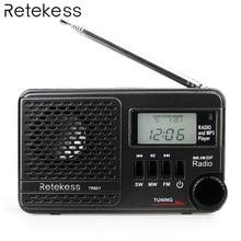 Retekess TR601 FM/AM/SW Pocket Radio Digital DSP Clock Radio Receiver MP3 Player 9K/10K Tuning Micro SD Card Port USB Input цена и фото