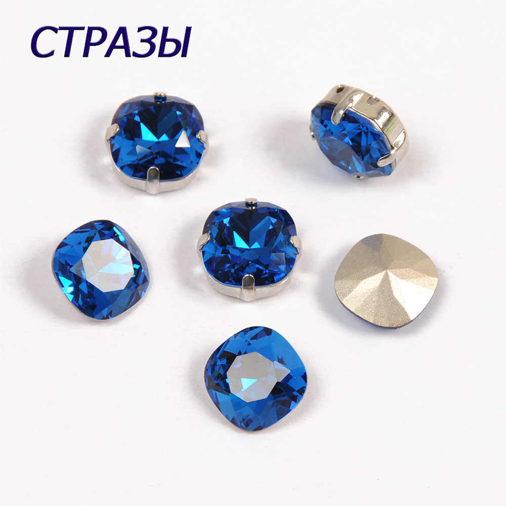 CTPA3bI 4470 Capri Blue Color Cushion Cut Shape All Sizes fancy stone pointed back Glass Crystal Jewelry beads bracelet Making
