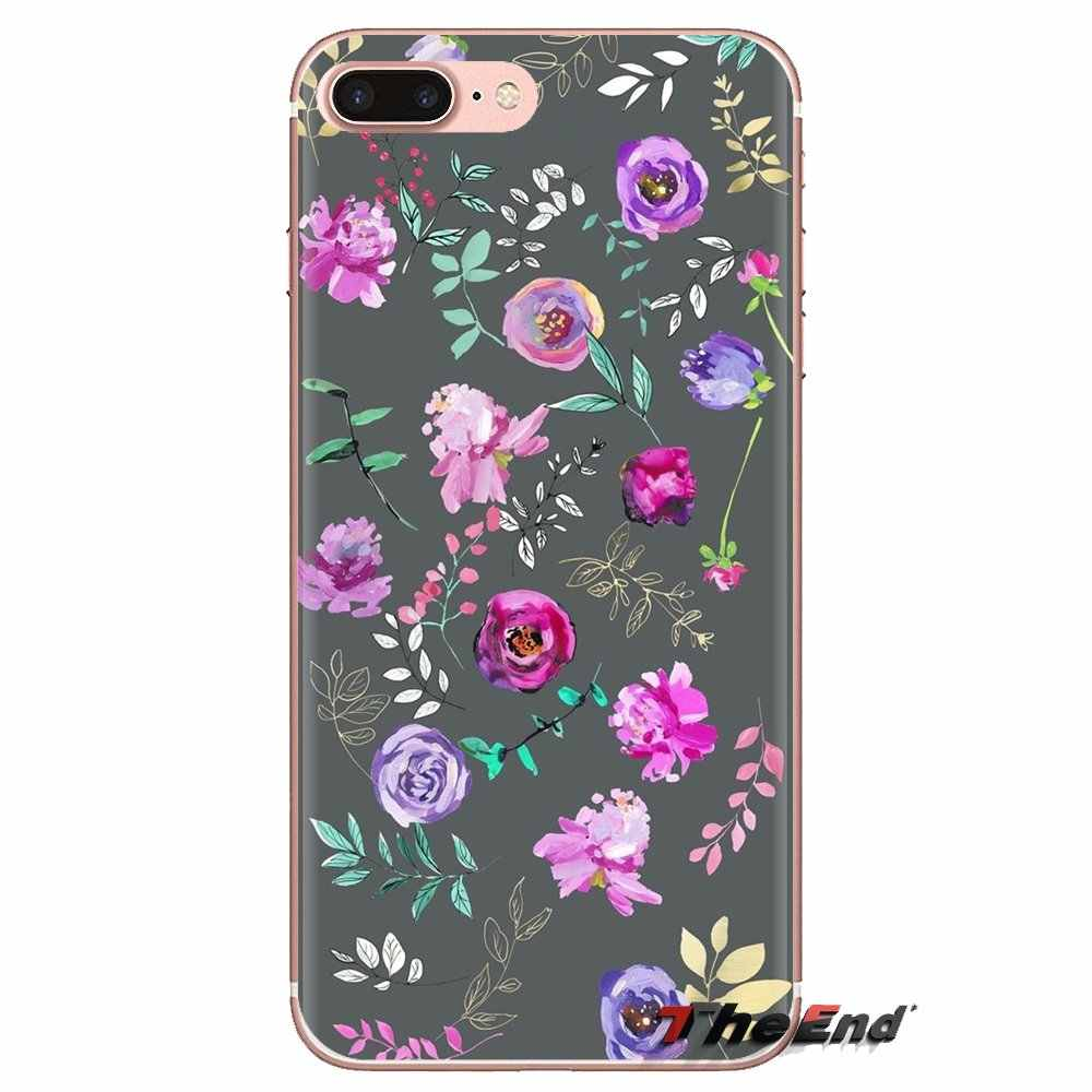 Güzel Neon çiçekler duvar kağıdı TPU kapak Samsung Galaxy S2 S3 S4 S5 MINI S6 S7 kenar S8 S9 artı not 2 3 4 5 8 Coque Fundas