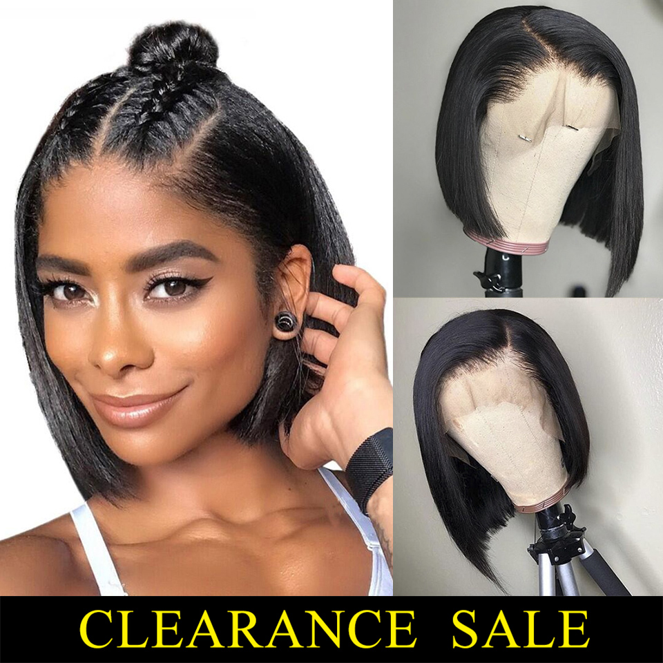 13x4 Lace Front Wig Brazilian Hair Remy Straight Short Bob Wig Real Human Hair Topper Women's Wig Preplucked With Baby Hair 150%