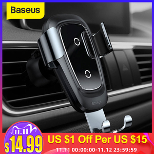Image 1 - Baseus Wireless Car Charger Phone Holder For iPhone X 8 Plus Samsung S9 S8 Mobile Phone Charger In Car Wireless Charging Holder