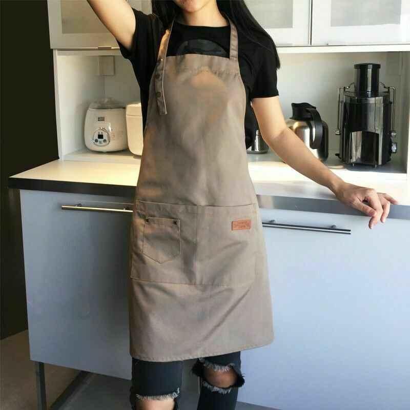 2020 ใหม่ล่าสุด Solid ครัวทำอาหารผ้ากันเปื้อนสำหรับผู้หญิง Men Chef Waiter Cafe Shop BBQ Hairdresser ผ้ากันเปื้อนผ้ากันเปื้อนห้องครัวอุปกรณ์เสริม