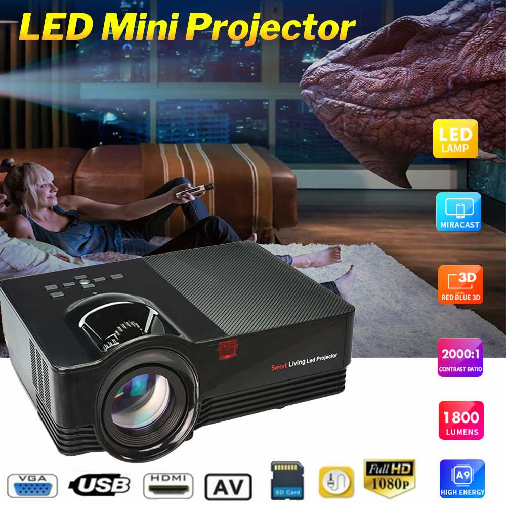 MINI EU LED HD Projector 1800 lumens 1080P LCD Projector Portable Home Theater support 4k