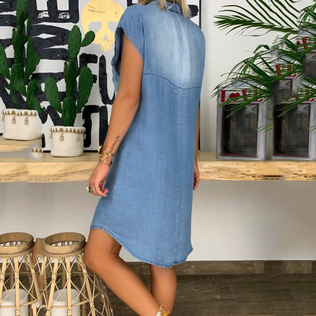 Women Summer Dress Short Sleeve High Quality Solid Denim Sundress Turn Down Collar Mini Party