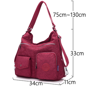 Image 2 - 3 in 1 Women Bags Multifunction Backpack Shoulder Bag Nylon Cloth Tote Reusable Shopping Bag Ladys Travel Bag Crossbody Bag