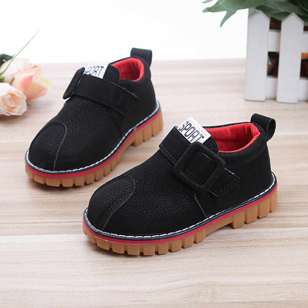 Children Kid Baby Girls Boys Boots Anti-slip Ankle Sport Short Booties Casual Shoes Solid Hook & Loop Rubber Children Shoes