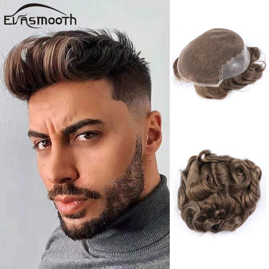 Q6 Mens Wigs Human Hair Men Toupee Natural Wigs Bleached Knot Toupee Real Hair Male Wigs Hair Unit Mens Hair Toupee Lace And PU
