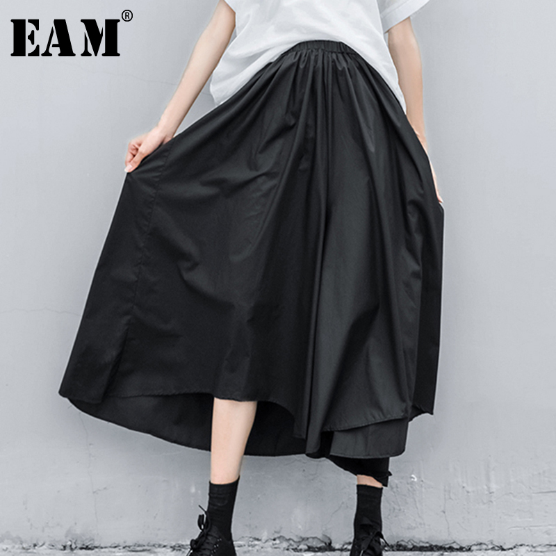 [EAM] High Elastic Waist Black Asymmetrical Wide Leg Trousers New Loose Fit Pants Women Fashion Tide Spring Autumn 2020 1N588