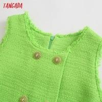 Tangada 2021 Fashion Women Green Tweed Tank Dress Sleeveless Buttons Female Casual Short Dress 5Z230 2