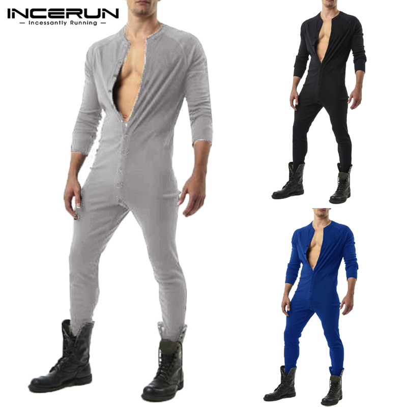 Männer Pyjamas Overall Solide 2020 Gemütlich Freizeit Taste Nachtwäsche Romper Langarm Homewear Männer Overall Nachtwäsche S-5XL INCERUN 7