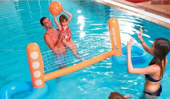 цена на Inflatable swimming pool toy inflatable floating volleyball rack water volleyball net adult water game floating volleyball