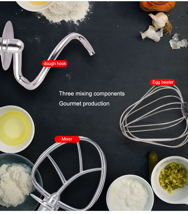 Commercial Stainless Steel 7L Dough Mixer Whiper Beater Hoook Electric Food Mixer 7L Egg Cream Salad Beater Accessories