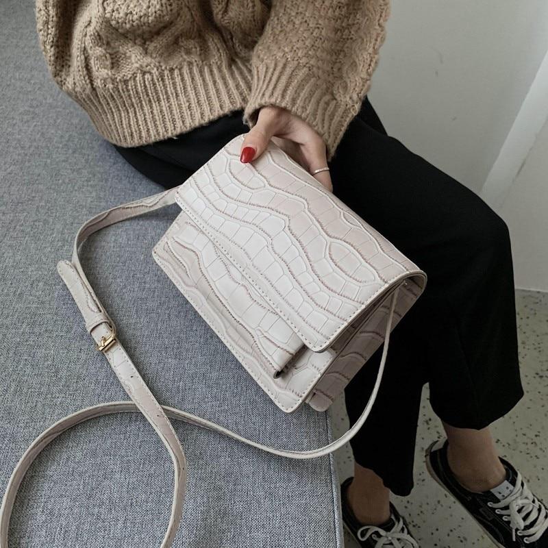 Crossbody Bags For Women 2020 Bolsa Feminina Casual Travel Messenger Bag Women Stone Pattern Cross Shoulder Bag Flap Purse