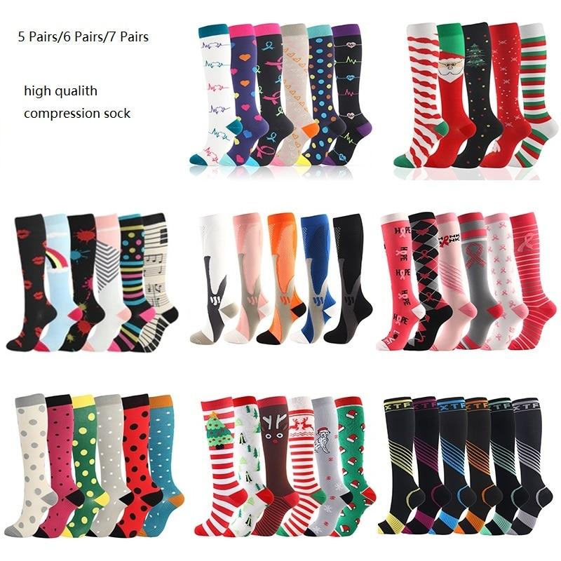 Компрессионные носки Для женщин мужчин 5/6/7 пар для бега на открытом воздухе спортивные носки перелет медсестер бег, поглощающие запах спорт...