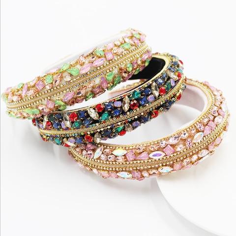 Novo Barroco Cheio Diamante Esponja Headbands Senhoras Dança Festa Colorido Strass Hairbands