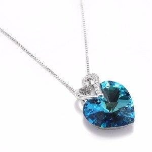 Image 4 - Impreziosito con il Cristallo da Swarovski Donne Collana Gioielleria Raffinata Blu di Cristallo Del Cuore Del Pendente Della Collana di San Valentino Regalo di giorno
